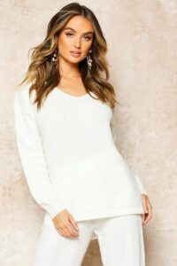 Womens Oversized V Neck Jumper - Cream - M, Cream