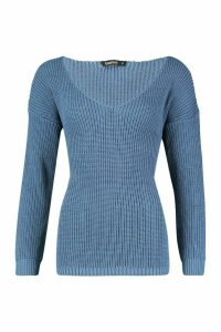 Womens Oversized V Neck Jumper - blue - S, Blue
