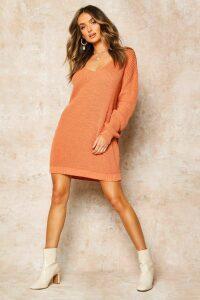 Womens V Neck Jumper Mini Dress - Orange - Xl, Orange