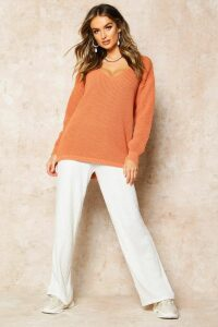 Womens Oversized V Neck Jumper - Orange - Xs, Orange