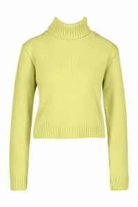 Womens Roll Neck Crop Jumper - soft lime - L, Soft Lime