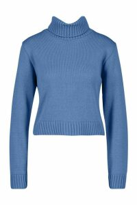 Womens Roll Neck Crop Jumper - slate blue - L, Slate Blue