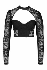 Womens Lace Cut Out Top - black - 14, Black