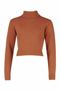 Womens Roll Neck Crop Jumper - beige - M, Beige
