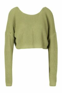 Womens V-Back Crop Jumper - green - M, Green