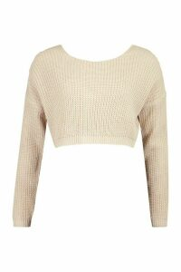 Womens V-Back Crop Jumper - beige - L, Beige