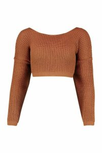 Womens V-Back Crop Jumper - beige - M, Beige