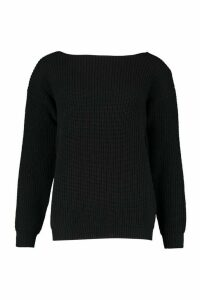 Womens V-Back Oversized Jumper - black - M, Black