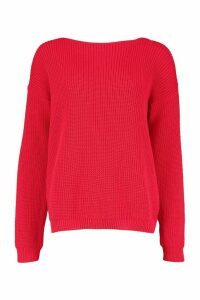 Womens V-Back Oversized Jumper - red - S, Red