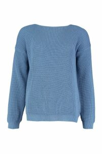Womens V-Back Oversized Jumper - Blue - S, Blue