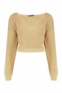 Womens V Neck Fisherman Crop Jumper - beige - M, Beige