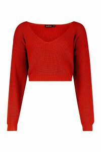 Womens V Neck Fisherman Crop Jumper - brown - M, Brown