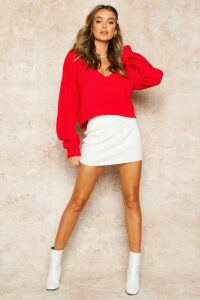 Womens V Neck Fisherman Crop Jumper - red - L, Red