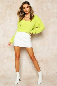 Womens V Neck Fisherman Crop Jumper - Green - L, Green