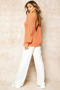 Womens V-Back Oversized Jumper - orange - L, Orange