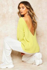 Womens V-Back Oversized Jumper - green - S, Green