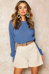 Womens Crop Fisherman Jumper - slate blue - L, Slate Blue