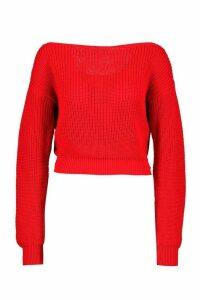 Womens Slash Neck Crop Fisherman Jumper - red - XS, Red