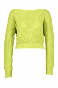 Womens Slash Neck Crop Fisherman Jumper - green - M, Green