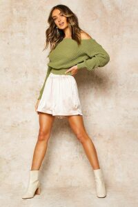 Womens Slash Neck Crop Fisherman Jumper - green - XL, Green