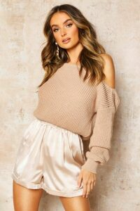 Womens Slash Neck Crop Fisherman Jumper - beige - XS, Beige