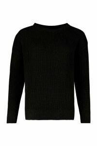 Womens Oversized Jumper - black - M, Black