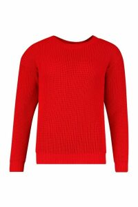 Womens Oversized Jumper - red - S, Red