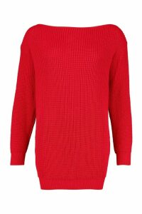 Womens Slash Neck Fisherman Jumper - Red - M, Red