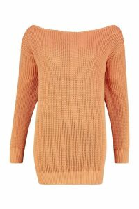 Womens Slash Neck Fisherman Jumper - orange - M, Orange