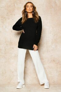 Womens Slash Neck Fisherman Jumper - Black - M, Black