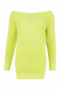 Womens Slash Neck Fisherman Jumper - green - M, Green