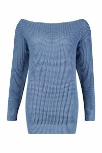 Womens Slash Neck Fisherman Jumper - slate blue - M, Slate Blue