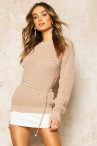 Womens Oversized Jumper - beige - M, Beige