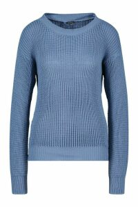 Womens Oversized Jumper - slate blue - S, Slate Blue