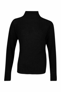 Womens Roll Neck Cuff Detail Fisherman Jumper - black - M/L, Black