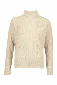 Womens Roll Neck Cuff Detail Fisherman Jumper - beige - M/L, Beige