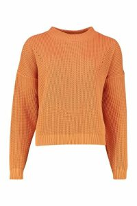 Womens Open Knit roll/polo neck Jumper - orange - S, Orange