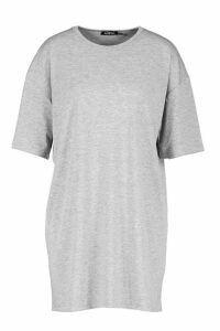 Womens Oversized Crew Neck T-Shirt Dress - grey - 14, Grey