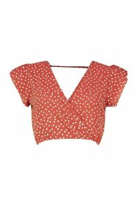 Womens Ruffle Polka Dot Top - orange - 14, Orange