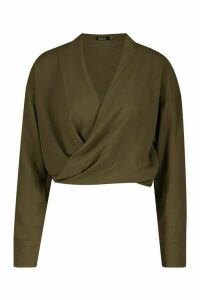 Womens Woven Twist Front Detail Blouse - green - 8, Green