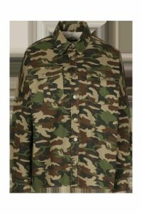 Womens Oversized Camo Denim Shirt - Multi - L, Multi