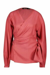 Womens Metallic Fabric Wrap Top Blouse - pink - 10, Pink