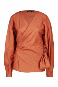 Womens Metallic Fabric Wrap Top Blouse - orange - 14, Orange