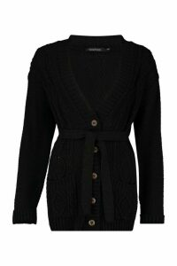 Womens Belted Cable Boyfriend Cardigan - black - M/L, Black