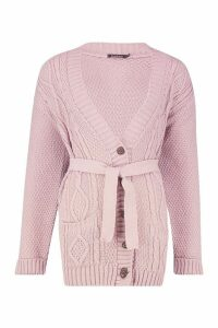 Womens Belted Cable Boyfriend Cardigan - pink - M/L, Pink