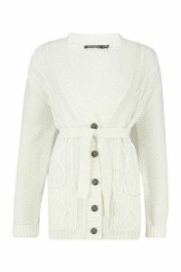 Womens Belted Cable Boyfriend Cardigan - white - M/L, White