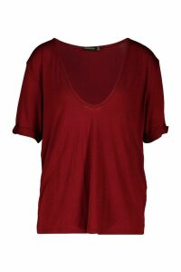 Womens Plunge Front Oversized T-Shirt - red - 8, Red