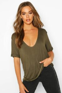 Womens Plunge Front Oversized T-Shirt - green - 14, Green