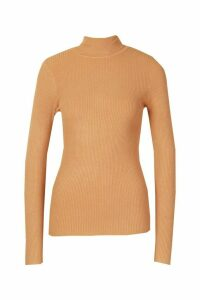 Womens Roll Neck Knitted Jumper - beige - M, Beige