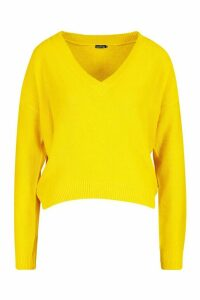Womens Boxy V Neck Jumper - yellow - L, Yellow